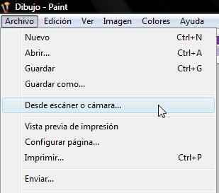 Escaneando con Paint y un escáner Benq Scan To Web 3300U