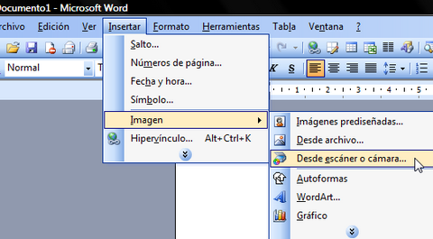 Escaneando con Word