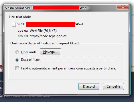 PDF con extensión incorrecta (.wed) enviado desde la sede electrónica del SEPE